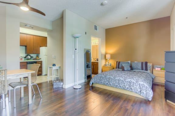 Kitchen In One Bedroom Floor-plan at Hollywood Vista, Hollywood, CA, 90046