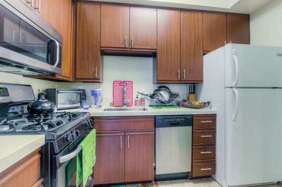 Updated Kitchens With New Cabinets And Appliances at Hollywood Vista, Hollywood, CA