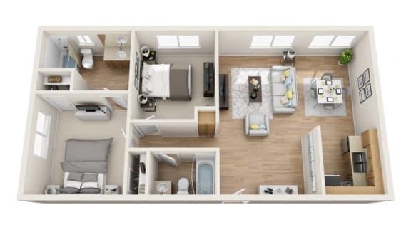 Floor Plan  Two Bedroom, Two Bath - B Floor Plan at Park Merridy, Northridge, CA, 91325