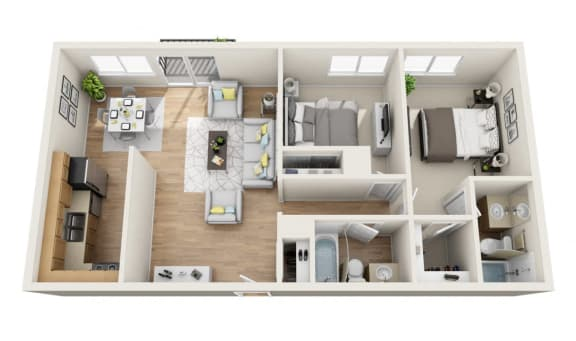 Floor Plan  Two Bedroom, Two Baths Floor Plan at Park Merridy, California, 91325