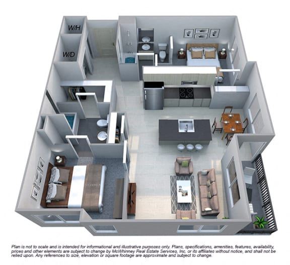 Floor Plan  Avery 2 Bedroom 2 Bath Floorplan at Cycle Apartments, Ft. Collins, CO 80525