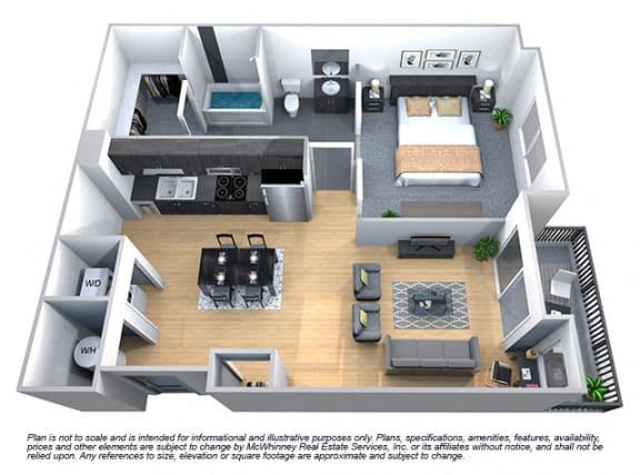 Laurel 1 Bedroom 1 Bath Floorplan at Cycle Apartments, Colorado, 80525