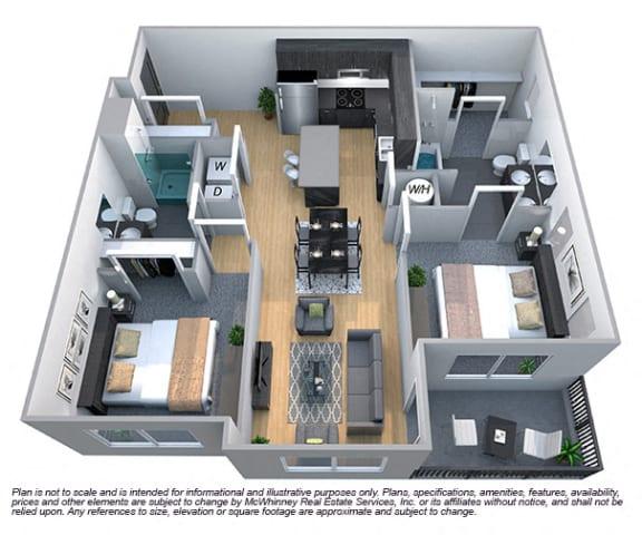 Floor Plan  Magnolia 2 Bedroom 2 Bath Floorplan at Cycle Apartments, Ft. Collins, CO