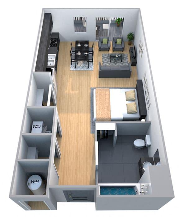 Floor Plan  Stanford - Studio Floor Plan at Cycle Apartments, Ft. Collins