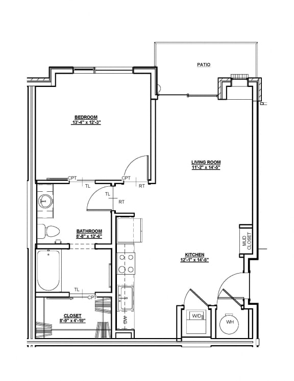 Laurel Floor plan at Cycle Apartments, Ft. Collins, CO 80525