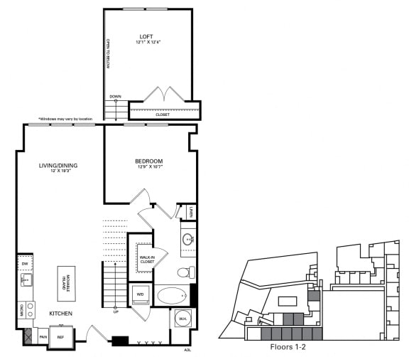 Carmichael Floor Plan at Berkshire Chapel Hill, Chapel Hill, North Carolina