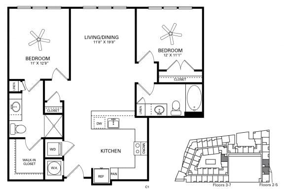 Davis ADA accessible Floor Plan at Berkshire Chapel Hill, Chapel Hill, NC