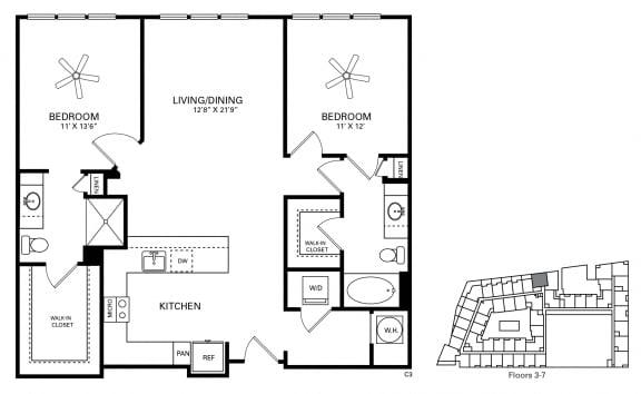 Eshelman Floor Plan at Berkshire Chapel Hill, North Carolina