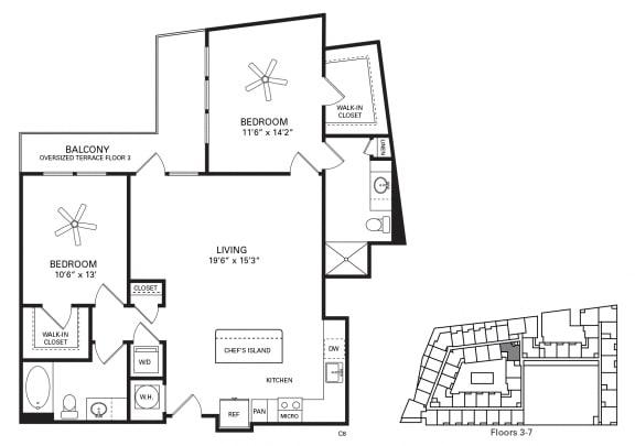 Fetzer Floor Plan at Berkshire Chapel Hill, Chapel Hill