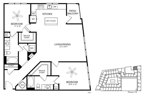 Flagler Floor Plan at Berkshire Chapel Hill, Chapel Hill, 27514