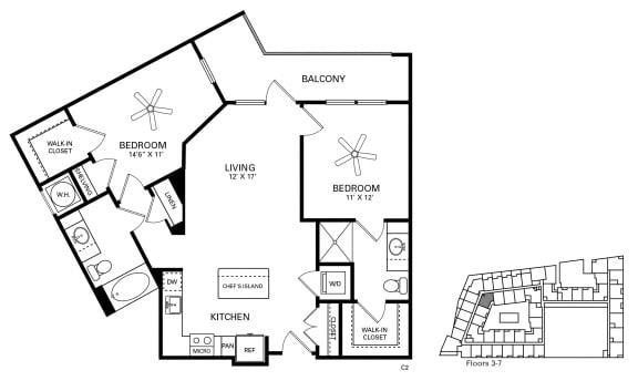 Gillings Floor Plan at Berkshire Chapel Hill, Chapel Hill