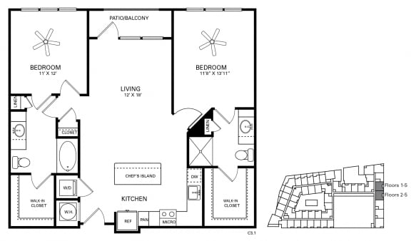 Hinton Floor Plan at Berkshire Chapel Hill, Chapel Hill, NC, 27514