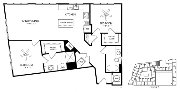 Jordan Floor Plan at Berkshire Chapel Hill, Chapel Hill, NC, 27514