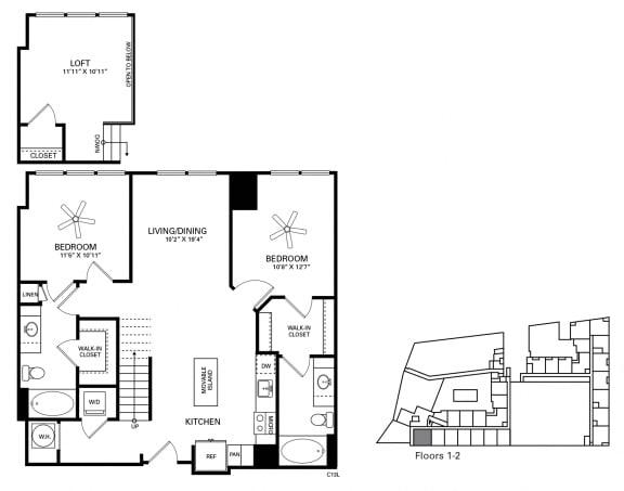 Lee Floor Plan at Berkshire Chapel Hill, Chapel Hill, NC