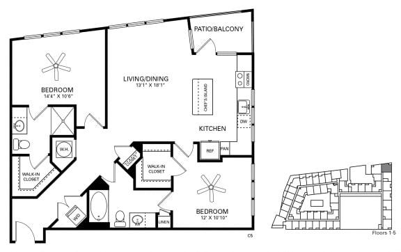 Lenoir Floor Plan at Berkshire Chapel Hill, Chapel Hill, North Carolina