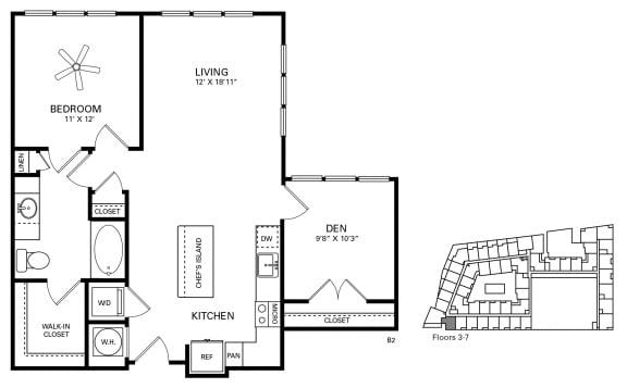 Rhodes Floor Plan at Berkshire Chapel Hill, North Carolina