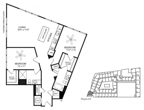 Rosemary Floor Plan at Berkshire Chapel Hill, Chapel Hill, North Carolina
