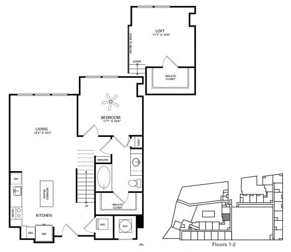 Williams Floor Plan at Berkshire Chapel Hill, Chapel Hill, 27514