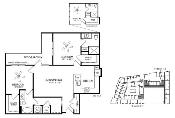 Woollen Floor Plan at Berkshire Chapel Hill, Chapel Hill, 27514