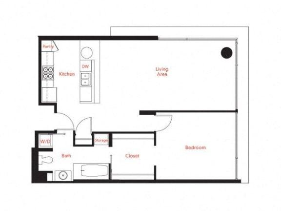 C-1 Floor Plan at Met Lofts, California, 90015