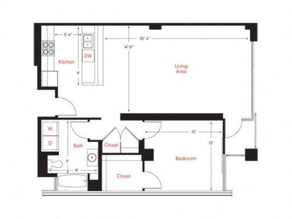 C-2 Floor Plan at Met Lofts, Los Angeles, CA, 90015