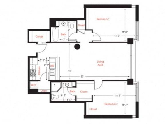D-1 Floor Plan at Met Lofts, California