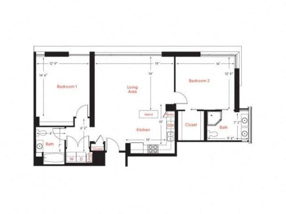 D-2 Floor Plan at Met Lofts, Los Angeles, CA, 90015