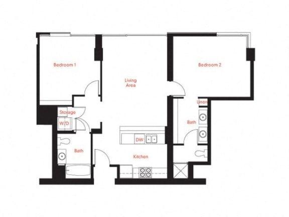 D-3 Floor Plan at Met Lofts, Los Angeles, 90015