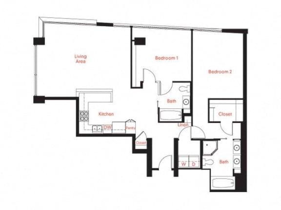 D-4a Floor Plan at Met Lofts, California, 90015
