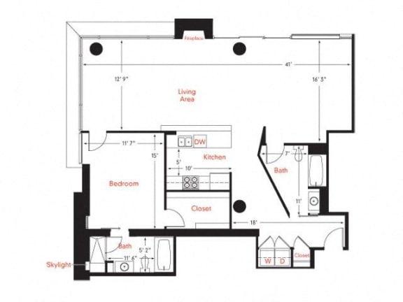 D-7 Floor Plan at Met Lofts, Los Angeles, CA