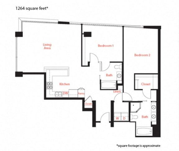 D-4b Floor Plan at Met Lofts, Los Angeles, 90015