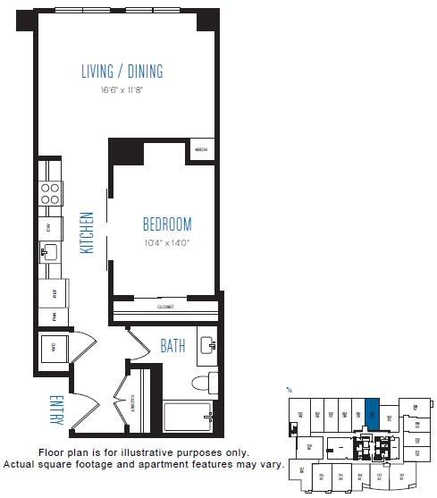 Floor Plan  O4 1 Bed 1 Bath Floor Plan at Stratus, Seattle, WA