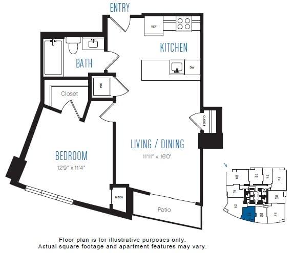 Floor Plan  A10 1 Bed 1 Bath Floor Plan at Stratus, Seattle, WA