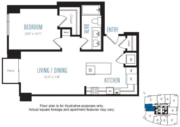 Floor Plan  A11 1 Bed 1 Bath Floor Plan at Stratus, Seattle, WA