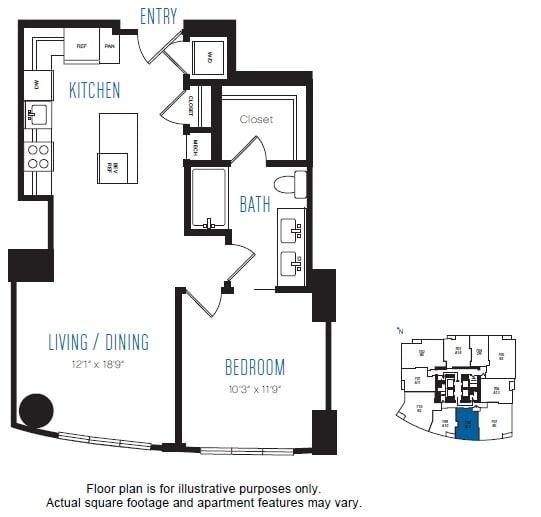 Floor Plan  A12 1 Bed 1 Bath Floor Plan at Stratus, Seattle, WA