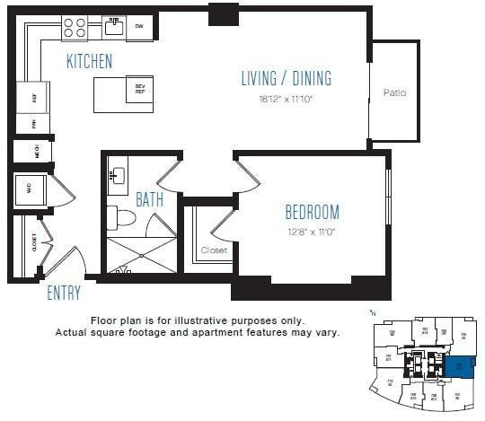 Floor Plan  A13 1 Bed 1 Bath Floor Plan at Stratus, Seattle, WA