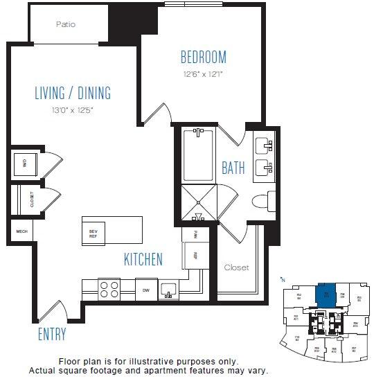 Floor Plan  A14 1 Bed 1 Bath Floor Plan at Stratus, Seattle, WA