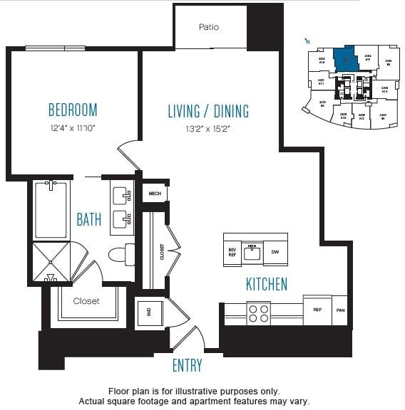 Floor Plan  A15 1 Bed 1 Bath Floor Plan at Stratus, Seattle, WA