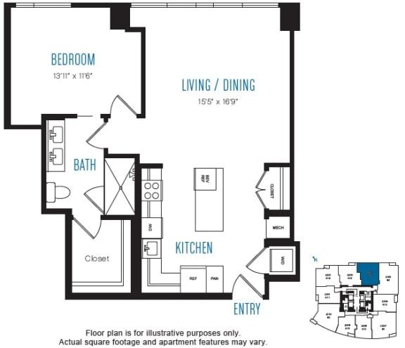 Floor Plan  A17 1 Bed 1 Bath Floor Plan at Stratus, Seattle, WA