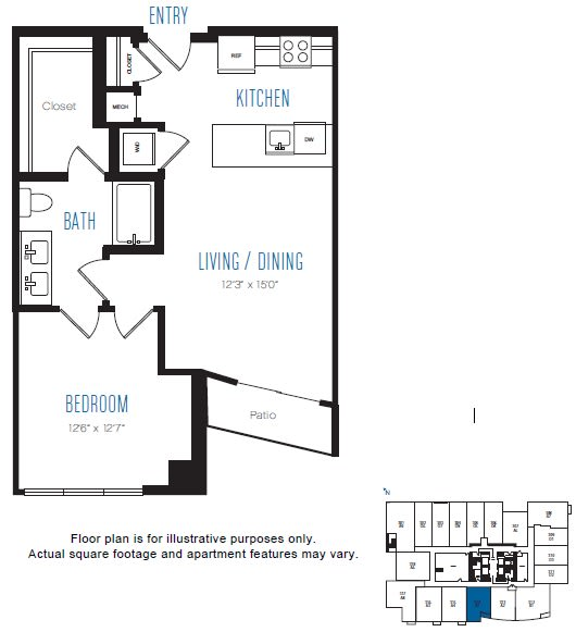 Floor Plan  A1 1 Bed 1 Bath Floor Plan at Stratus, Seattle, WA