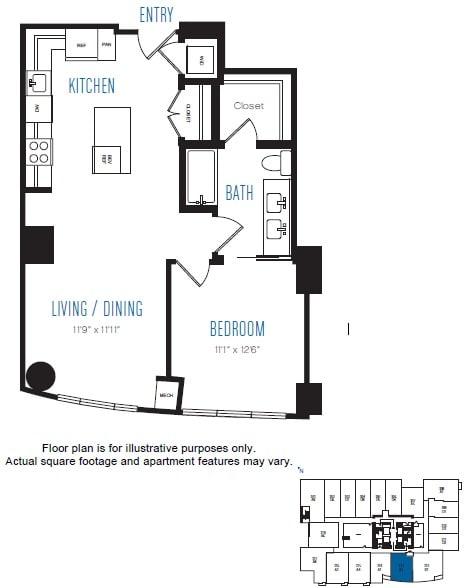 Floor Plan  A2 1 Bed 1 Bath Floor Plan at Stratus, Seattle, WA