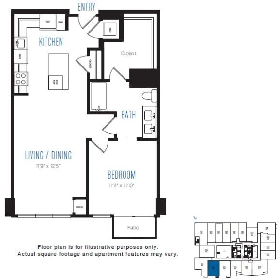 Floor Plan  A3 1 Bed 1 Bath Floor Plan at Stratus, Seattle, WA