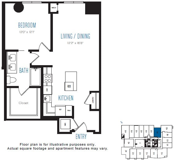 Floor Plan  A5 1 Bed 1 Bath Floor Plan at Stratus, Seattle, WA