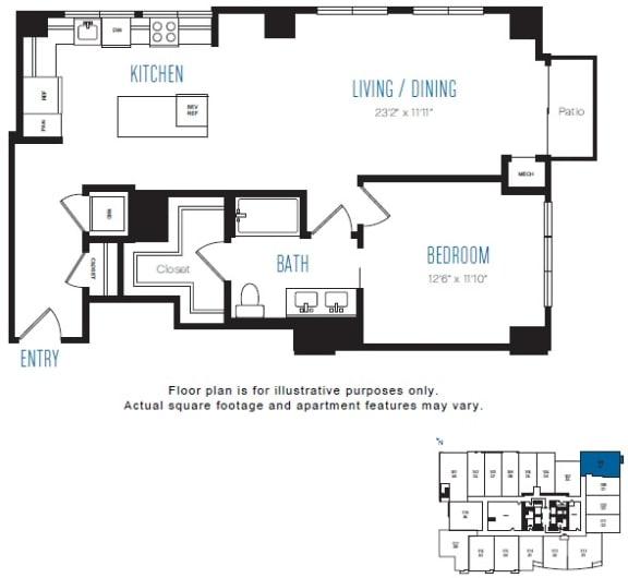 Floor Plan  A7 1 Bed 1 Bath Floor Plan at Stratus, Seattle, WA