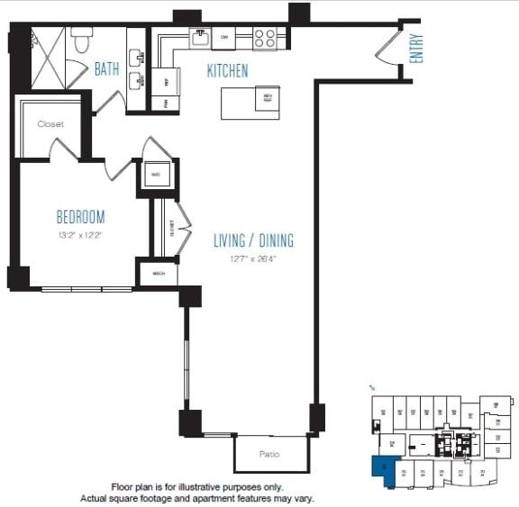Floor Plan  A8 1 Bed 1 Bath Floor Plan at Stratus, Seattle, WA