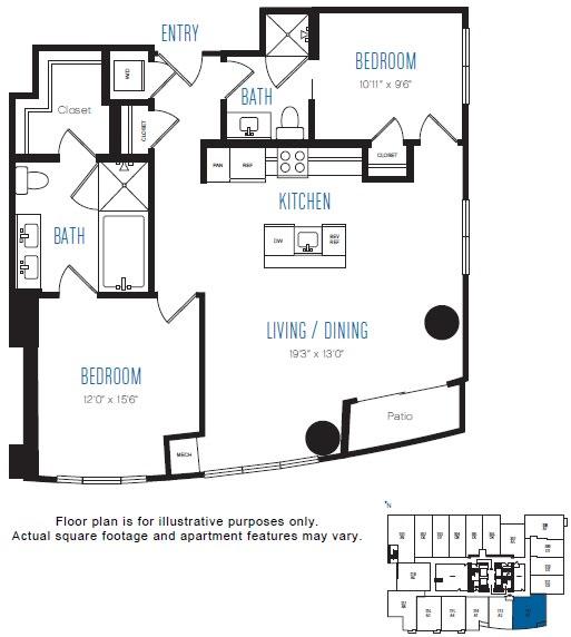Floor Plan  B1 2 Bed 2 Bath Floor Plan at Stratus, Seattle, WA