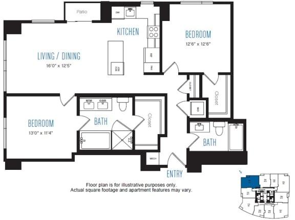 Floor Plan  B4 2 Bed 2 Bath Floor Plan at Stratus, Seattle, WA
