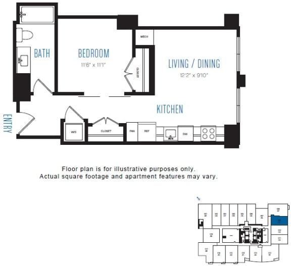 Floor Plan  O1 1 Bed 1 Bath Floor Plan at Stratus, Seattle, WA
