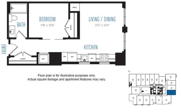 Floor Plan  O2 1 Bed 1 Bath Floor Plan at Stratus, Seattle, WA