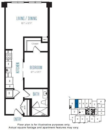 Floor Plan  O6 1 Bed 1 Bath Floor Plan at Stratus, Seattle, WA